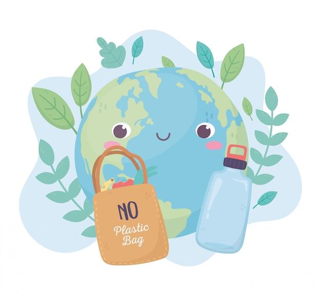 Wereld boodschappentas en fles milieu ecologie cartoon design