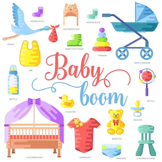 Wereld borstvoeding week en kinderen elementen platte pictogrammenset concept