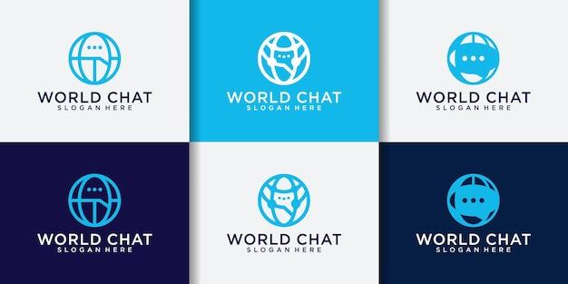 Wereld chat verbinding logo set en visitekaartje sjabloon