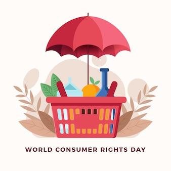 Wereld consumentenrechten dag illustratie met winkelmandje en paraplu
