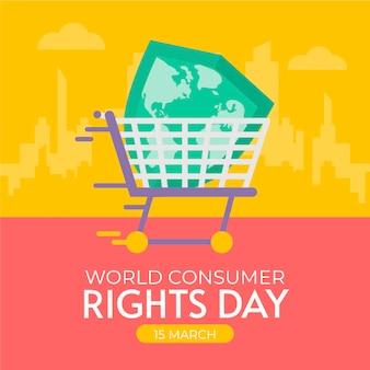 Wereld consumentenrechten dag illustratie