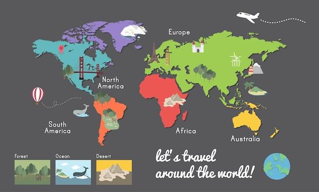 Wereld continent kaart locatie grafische afbeelding