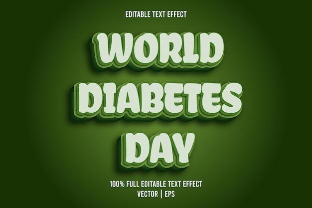 Wereld diabetes dag bewerkbare tekst effect komische stijl groene kleur