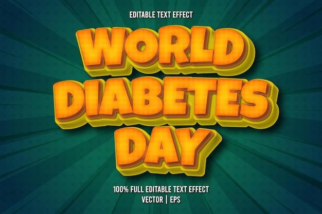 Wereld diabetes dag bewerkbare teksteffect komische stijl