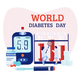 Wereld diabetes dag. glucosemeter, insuline, spuit, artsen. vector illustratie