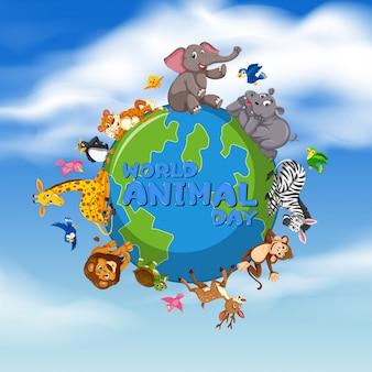 Wereld dier dag sjabloon