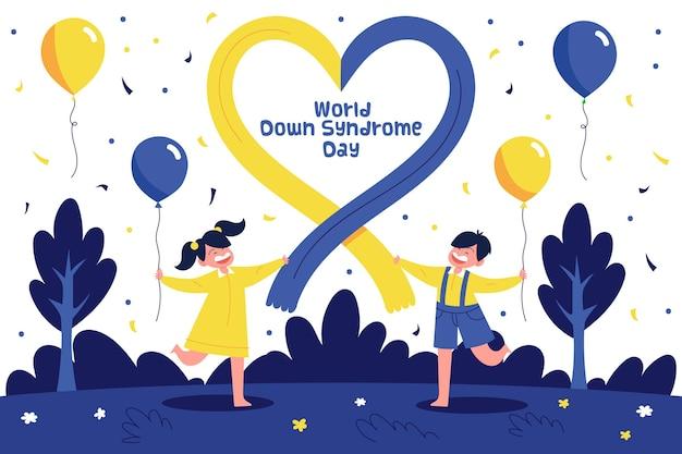 Wereld down syndroom dag illustratie met kinderen die in de natuur met ballonnen lopen