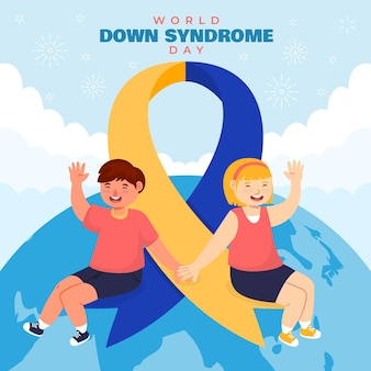 Wereld down syndroom dag illustratie met kinderen en planeet