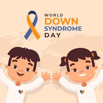Wereld down syndroom dag illustratie met kleine kinderen