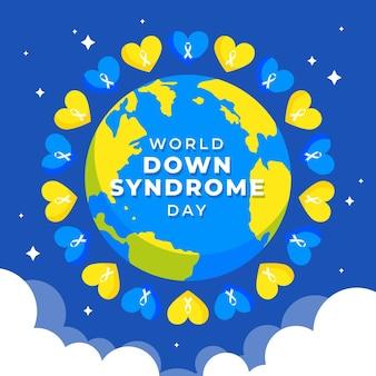 Wereld down syndroom dag illustratie met planeet aarde