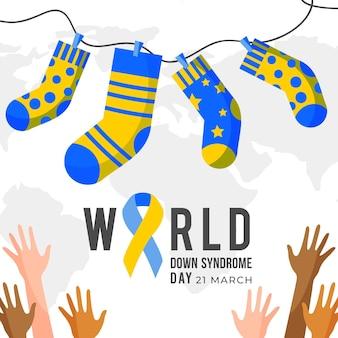 Wereld down syndroom dag illustratie met sokken en handen