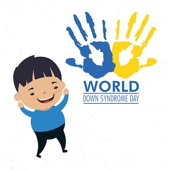 Wereld down syndroom dag met handen print verf en jongen