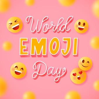 Wereld emoji dag belettering compositie met emoticon