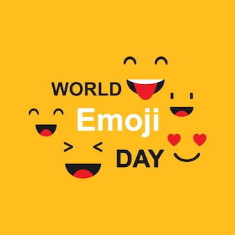 Wereld emoji-dag. emoji set met tekst op gele achtergrond. vector illustratie. eps 10