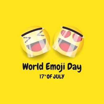 Wereld emoji dag vector sjabloon