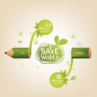Wereld en ecologie concept opslaan