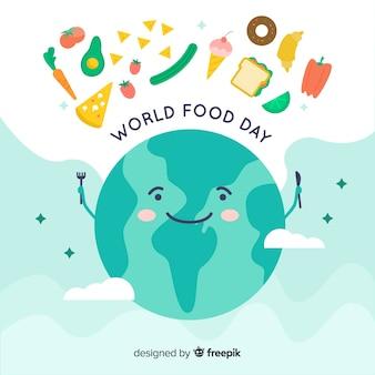 Wereld eten dag concept met de aarde