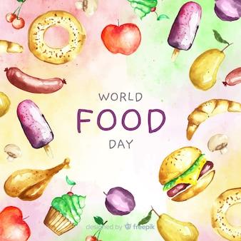 Wereld eten dag tekst met voedsel