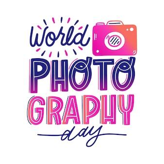 Wereld fotografie dag belettering stijl