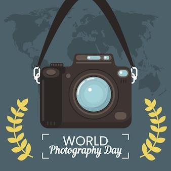 Wereld fotografie dag evenement illustratie