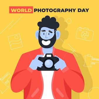 Wereld fotografie dag plat ontwerp