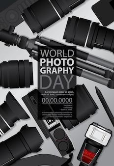Wereld fotografie dag sjabloon