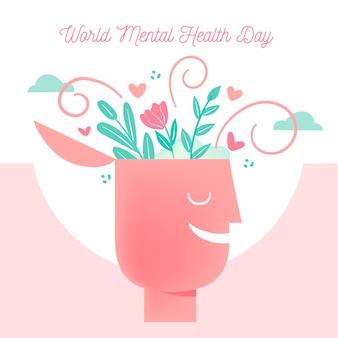 Wereld geestelijke gezondheid dag hand getekend ontwerp