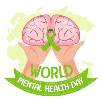 Wereld geestelijke gezondheidsdag banner of logo geïsoleerd op een witte achtergrond
