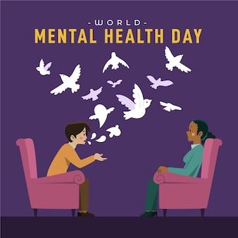 Wereld geestelijke gezondheidsdag illustratie