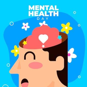 Wereld geestelijke gezondheidsdag plat ontwerp