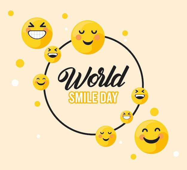 Wereld glimlach dag cirkelvormig frame