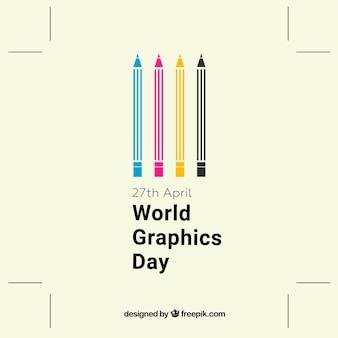 Wereld grafische achtergrond met kleur potloden