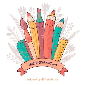 Wereld grafische achtergrond met verschillende hulpmiddelen om te tekenen
