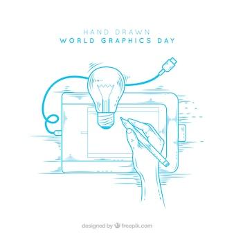 Wereld grafische achtergrond van de dag