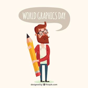 Wereld grafische dag achtergrond met ontwerper