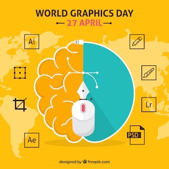 Wereld grafische dag achtergrond met softwareprogramma's