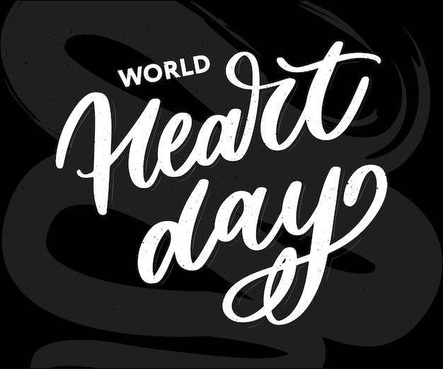 Wereld hart dag belettering kaart