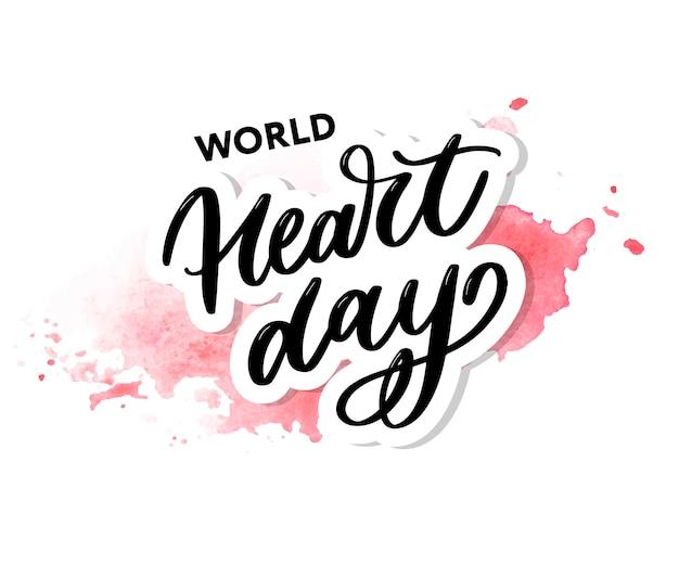 Wereld hart dag belettering