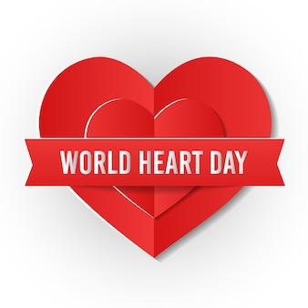 Wereld hart dag concept in papier gesneden stijl vector