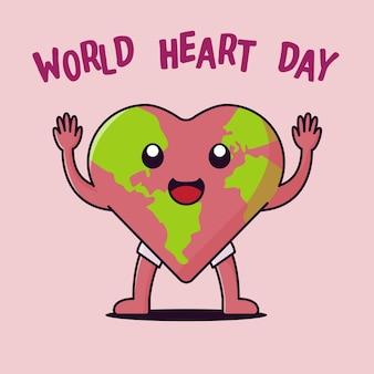 Wereld hart dag platte icoon
