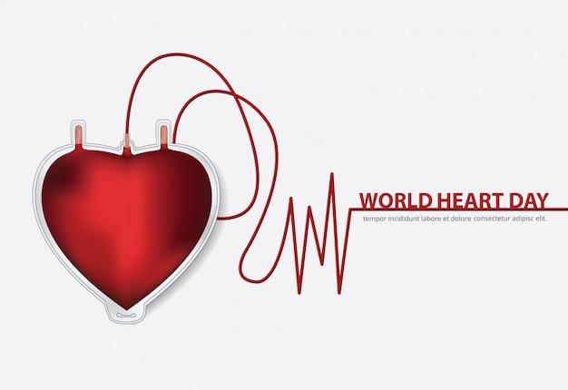 Wereld hart dag poster ontwerpsjabloon vectorillustratie