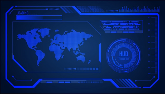 Wereld hud cyber circuit toekomstige technologie concept achtergrond