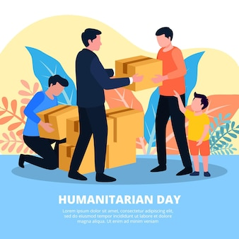 Wereld humanitaire dag illustratie thema
