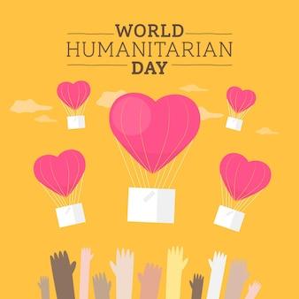 Wereld humanitaire dag in platte ontwerp