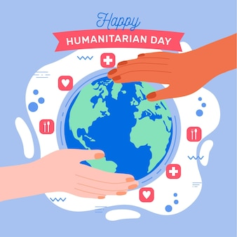 Wereld humanitaire dag met globe en handen