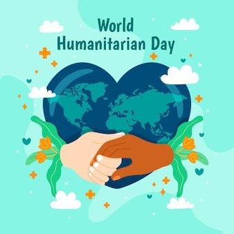 Wereld humanitaire dag met hartvormige aarde en handen