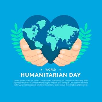 Wereld humanitaire dag met hartvormige aarde