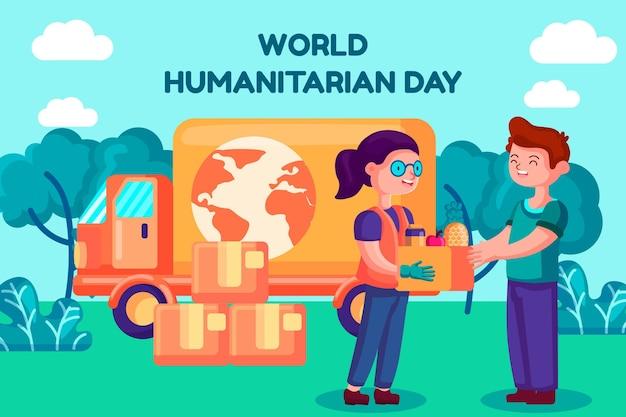 Wereld humanitaire dag met het helpen van mensen