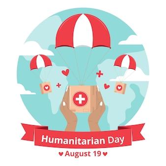 Wereld humanitaire dag met hulp en parachute