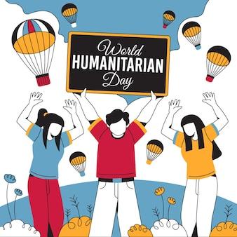 Wereld humanitaire dag met mensen en parachutes
